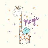 Girafa bonito mágico ilustração royalty free