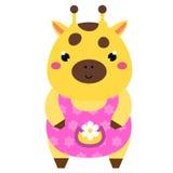 Girafa bonito no vestido cor-de-rosa Caráter do animal do kawaii dos desenhos animados Ilustração do vetor para a forma das crian Fotos de Stock