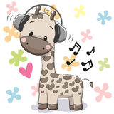 Girafa com fones de ouvido ilustração do vetor