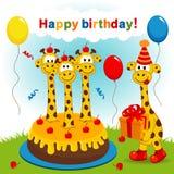 Girafa do aniversário ilustração do vetor