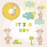 Girafa do bebê ajustado - cartão da festa do bebê Imagens de Stock