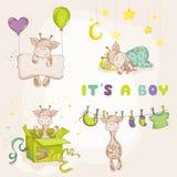 Girafa do bebê ajustado - cartão da festa do bebê Imagens de Stock Royalty Free