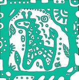 Girafa do bebê azul do mar no quadro bonito Imagens de Stock