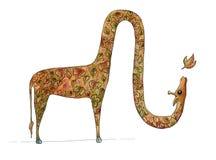 Girafa do outono que funde uma folha ilustração stock