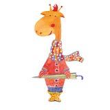 Girafa do vetor com guarda-chuva Foto de Stock Royalty Free