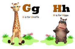 Girafa e hipopótamo com Alphabate Foto de Stock