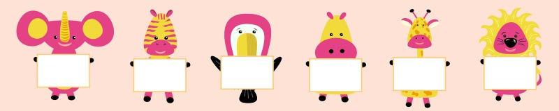 Girafa, elefante, tucano, hipopótamo, hipopótamo, leão, zebra com a imagem da cabeça Mordentes cor-de-rosa Personagem de banda de ilustração stock