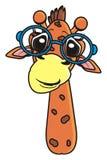 Girafa em vidros redondos Imagens de Stock