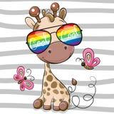Girafa fresco dos desenhos animados com vidros de sol ilustração do vetor