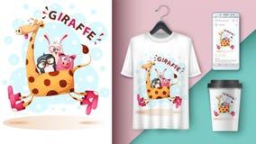 Girafa, pinguim, coelho, porco - modelo para sua ideia ilustração do vetor