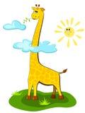 Girafa sobre o sol ilustração stock