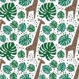 Girafas, folhas de palmeira e teste padrão sem emenda dos pontos no fundo branco Imagem de Stock Royalty Free