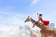 Girafe d'équitation de femme d'affaires Media mélangé Image stock