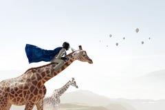 Girafe d'équitation de femme d'affaires Media mélangé Media mélangé Photographie stock