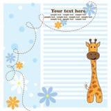 Girafe d'amusement, carte de voeux, vecteur Images libres de droits