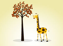 Girafe d'illustration mangeant des feuilles Images stock