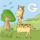 Girafe drôle au zoo Alphabet animal mignon pour le livre d'ABC Illustration de vecteur des animaux de bande dessinée Girafe pour  illustration libre de droits