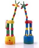 Girafe en bois multicolore Photos libres de droits