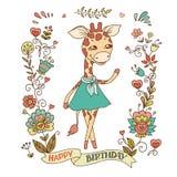 Girafe mignonne avec le cadre de vintage des fleurs Images libres de droits