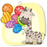 Girafe mignonne de bande dessinée avec le ballon illustration de vecteur