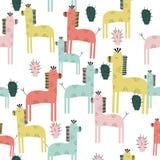 Girafe mignonne et modèle sans couture de cactus illustration libre de droits