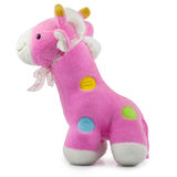 Girafe molle de Toy Baby sur le fond blanc Image libre de droits