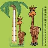 Girafe sous le modèle de paume Image stock