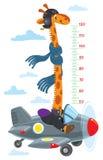Girafe sur l'avion Mur de mètre ou diagramme de taille illustration de vecteur