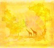 giraff över soluppgång två Arkivbild