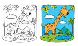 Giraff. Färgläggningbok Fotografering för Bildbyråer