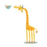 Giraff och fågel Royaltyfri Fotografi