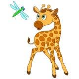 Giraff och slända Royaltyfri Bild