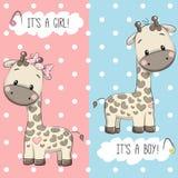 Giraff pojke och flicka Arkivbild