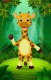 Giraff utom fara och grön skog stock illustrationer