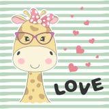 Giraffa adorabile sveglia del bambino della cartolina d'auguri con i vetri illustrazione vettoriale