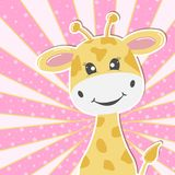 Giraffa adorabile sveglia del bambino della cartolina d'auguri Cartolina d'auguri illustrazione di stock