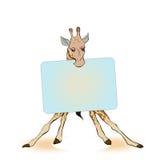 Giraffa che tiene un segno per l'etichetta Fotografia Stock Libera da Diritti