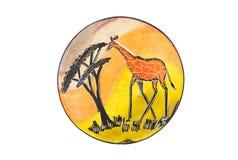 Giraffa che wainting sul piatto Immagini Stock Libere da Diritti