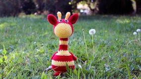 Giraffa di Amigurumi su erba Fotografia Stock