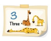 Giraffa di numero tre Immagini Stock Libere da Diritti