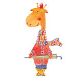 Giraffa di vettore con l'ombrello Fotografia Stock Libera da Diritti
