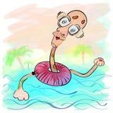 Giraffa e un cavo di sicurezza Vacanze in mare royalty illustrazione gratis