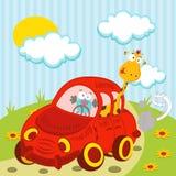 Giraffa ed uccello che viaggiano in macchina Immagine Stock