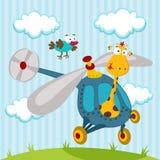 Giraffa ed uccello su un elicottero Immagini Stock Libere da Diritti