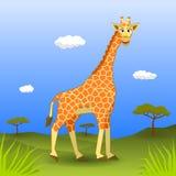 Giraffa sorridente che cammina nella savana Royalty Illustrazione gratis