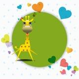 Giraffa sveglia con la cartolina d'auguri di amore. Immagini Stock