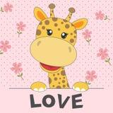 Giraffa sveglia del bambino della cartolina d'auguri e un amore dell'iscrizione isolato nel fondo rosa illustrazione vettoriale