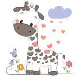 Giraffa sveglia del fumetto illustrazione di stock