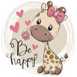Giraffa sveglia del fumetto con il fiore royalty illustrazione gratis