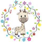 Giraffa sveglia nel telaio dei fiori royalty illustrazione gratis